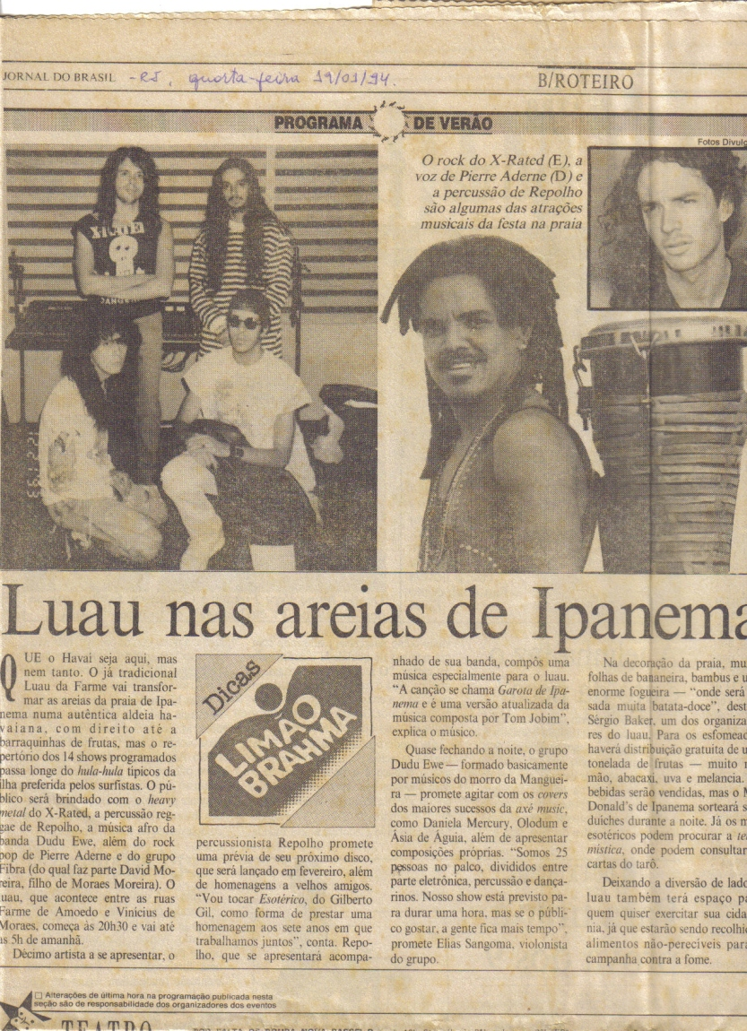 Banda X-Rated - JORNAL DO BRASIL - Show LUAU PRAIA DE IPANEMA - 19.1.1994
