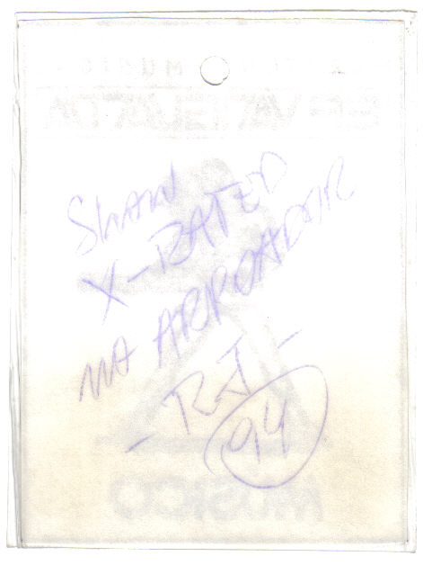 Banda X-Rated - PASS da MARATONA MUSICAL EP VANGUARDA - Arpoador - RJ Nov-1994 verso
