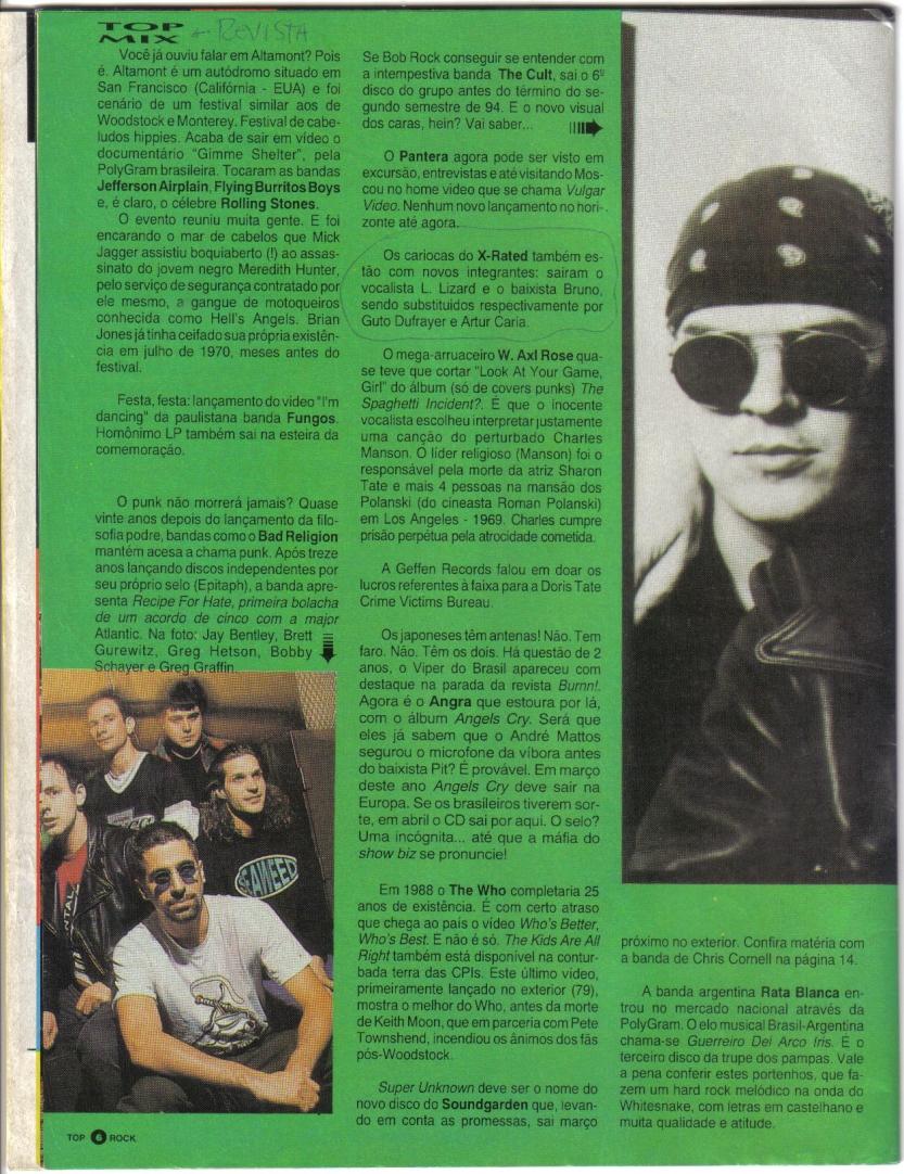 Banda X-Rated - Revista TOP ROCK - Ano 2- N. 20 - Janeiro de 1994