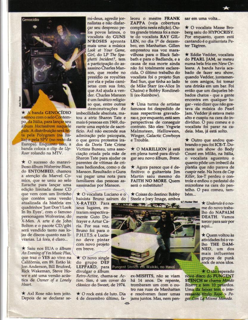 Banda X-Rated - ROCK BRIGADE - Ano 12 - N. 90 - Janeiroo de 1994