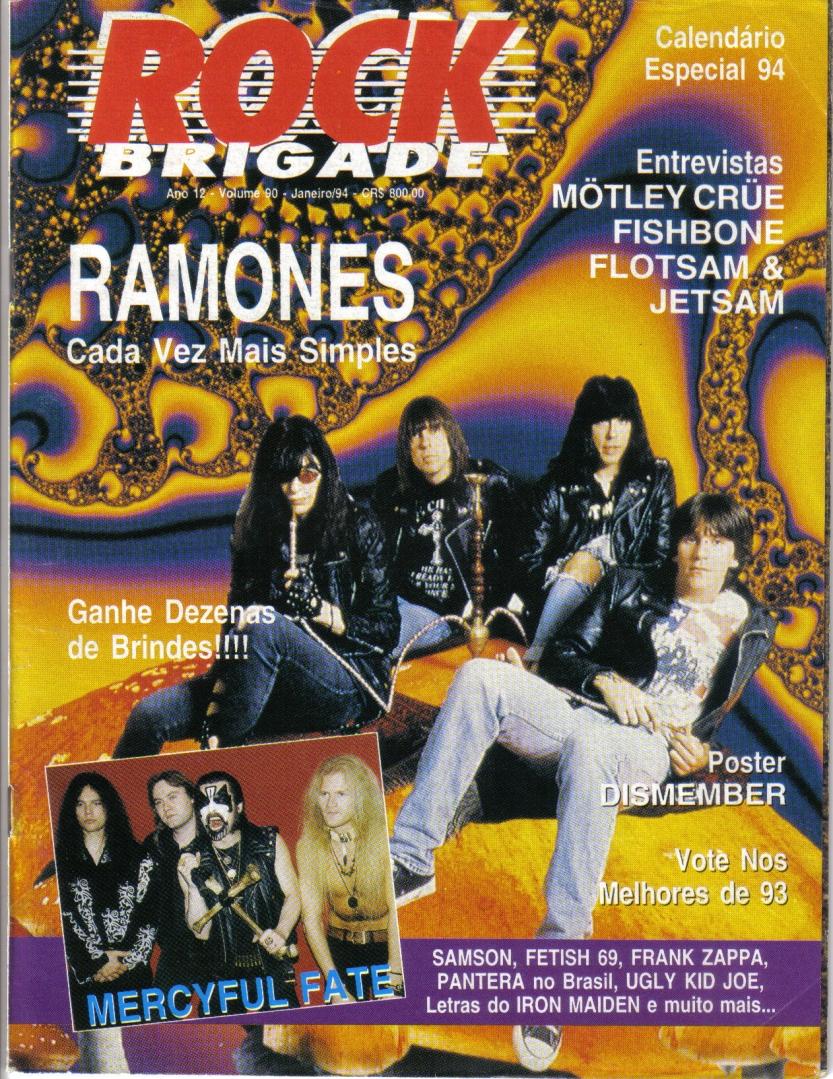 Banda X-Rated - ROCK BRIGADE capa - Ano 12 - N. 90 - Janeiro de 1994